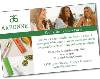 INSTANT DOWNLOAD Printable Arbonne Party Invitation * Customizable * Reusable