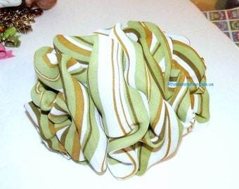 Becky Bows ~OOAK Barrette Hand crafted huge scarf BIG hair bow Women or Girls giant GREEN orange 70's stripe