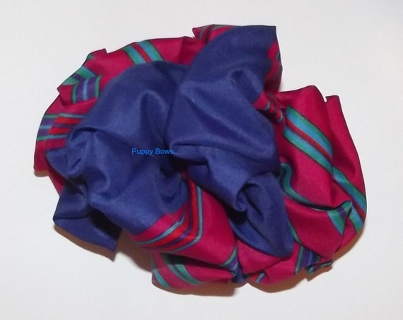 Becky Bows ~OOAK Barrette Hand crafted huge scarf BIG hair bow Women or Girls giant navy dark fuchsia