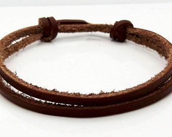 Brown Leather Cord Bracelet Adjustable Sliding Knot Surfer Wristband Handmade By TaKuKai