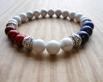 Red Jasper Lapis Lazuli Mala Bracelet, Healing & Balancing, Mala Bracelet, Yoga, Buddhist, Meditation, Prayer Beads