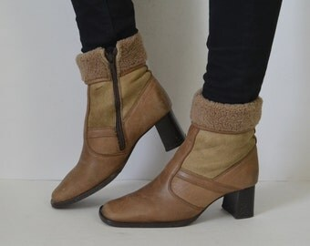 Beige Brown leather ankle boots winter booties womens sheepskin style Vintage 90s UK 4 US 6.5 EU 37