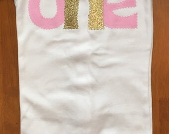 Pink and Gold Birthday Shirt or Baby Bodysuit
