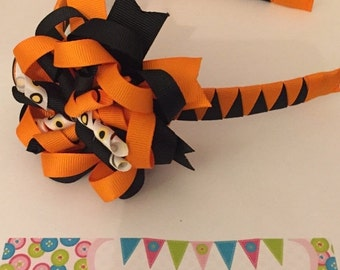 ON SALE Orange and Black Halloween 3-in-1 bow headband