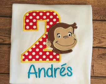 Red and Yellow Birthday Monkey Shirt or Baby Bodysuit