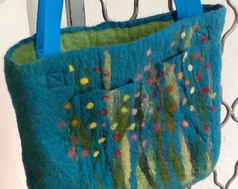 Handfelted Bag with grass and flowers, turquoise green