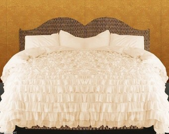 100% Egyptian Cotton 1000TC Ivory Ruffle Duvet Cover Set Select Size