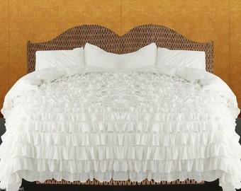 100% Egyptian Cotton 800TC White Ruffle Duvet Cover Set Select Size
