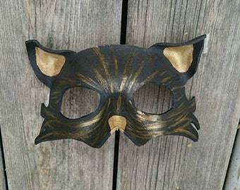 Leather Cat Mask Customized For Women, Men, and kids Halloween Mask unique cat mask gold cat mask black cat mask