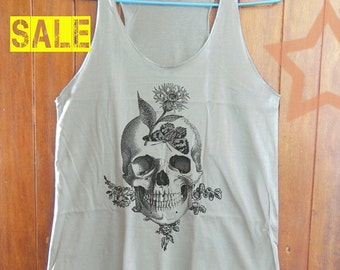 Butterfly Skull Engraving shirt skull tank top women tank top singlet shirt grey tank top size S M L