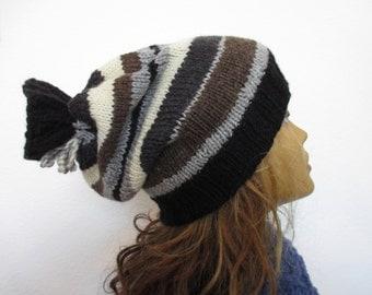 hand knit beanie hat, women , winter, warm, strires, oversized,slouchy# 82