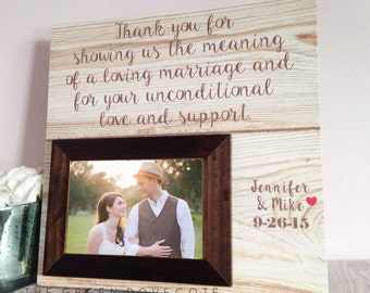 Thank You Parents Wedding Gift , 6x4 Photo Picture Frame , Mother Of The Bride , Mother Of The Groom Personalized Wedding Gift.