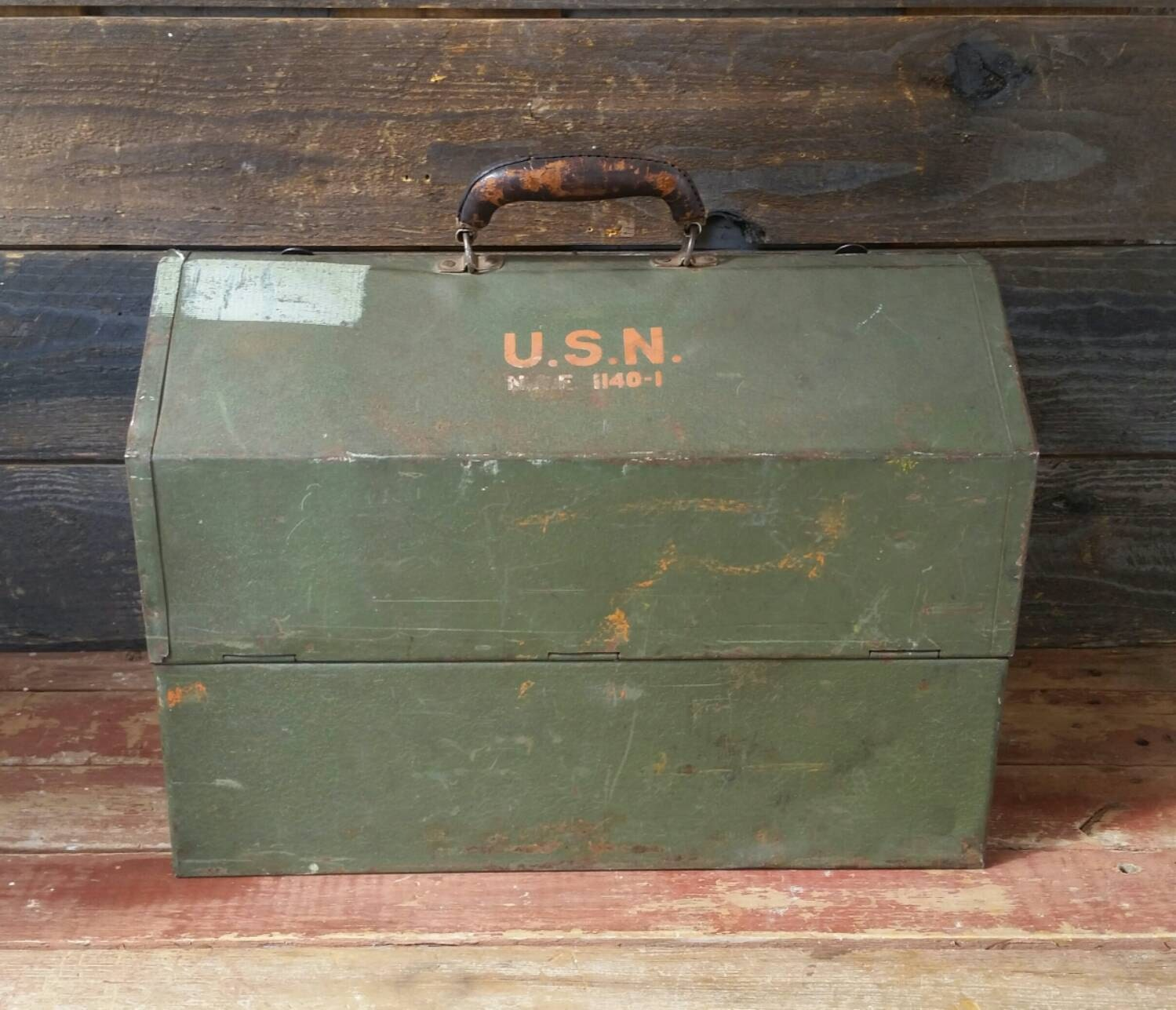 Kennedy Tool Box Us Navy Steel Chest Military Green Storage