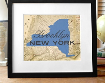 Brooklyn Print, Brooklyn NY Print, New York Print, NY State Print, State Print, Map of Brooklyn, map of NY