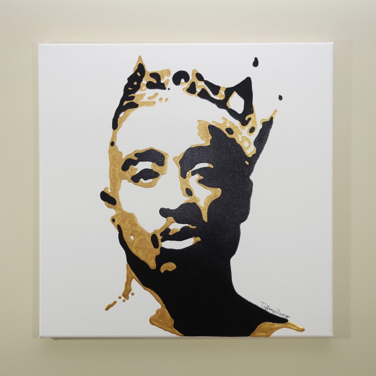 tupac painting 20x20 hip hop art pop art black and gold zoom