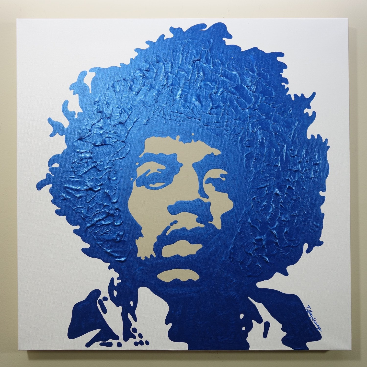Jimi Hendrix Painting 24x24 Pop Art Rock And Roll Art Blue