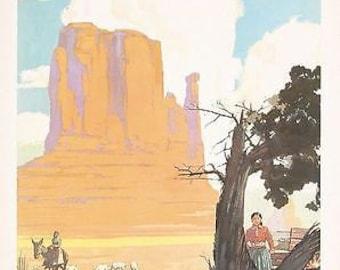 Vintage Santa Fe Railway Navajo Land Travel Poster A3 Print