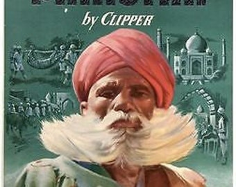 Vintage Pan Am India Pakistan Poster A3 / A2 Print