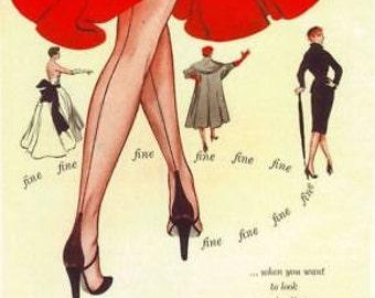 1930's Fine Feathers Lingerie Advert A3 Poster Reprint