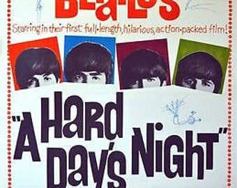 VintageBeatles Hard Days Night Movie Poster A3/A2/A1 Print