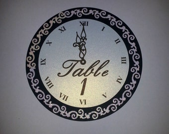 Glitter New Year's Eve Wedding Clock Table Numbers - NYE Wedding Table Numbers