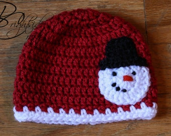 READY TO SHIP Crochet Snowman Hat Crochet Christmas Hat Crochet Holiday Hat Baby Toddler Child Snowman Red Hat