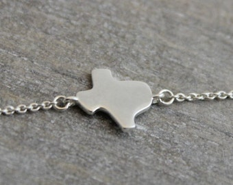 Silver Texas Bracelet - Silver Bracelet  - Texas Jewelry- Bridesmaid Jewelry - Friendship Gift - Lone Star State- Gifts under 25 dollars