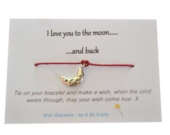 Friendship Wish Bracelet with quote I Love you to the moon and back - Mother's Day - Valentine's Day - wish string - charm  bracelet