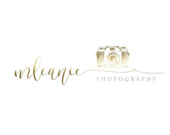 Photography logo - calligraphy gold glitter logo, gold watermark n075