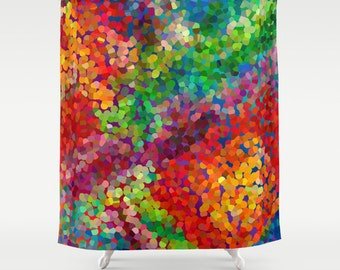 rainbow chameleon shower curtain watercolor colorful shower