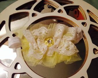 Yellow ruffle and lace headband