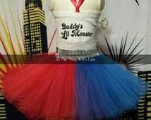 Harley Quinn Tutu Halloween costume, birthday, pageant, dress-up Dress with satin ribbons. Suicide Squad  tutu dress, tutu costume