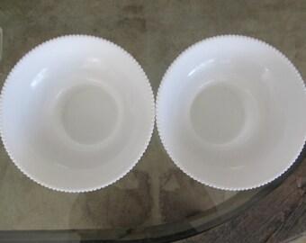 Set of 2 Corregated Hoiser Milk Glass Bowls