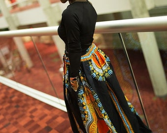 Split pocket Dashiki maxi skirt