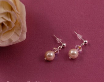 Wedding Pearl and Crystal Drop Earrings with CRYSTALLIZED™ - Swarovski Elements