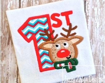 1st Christmas Reindeer Appliqué Design
