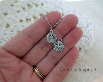 Tiny St Benedictine Medal - Stainless Steel Chain - Catholic Saint Benedict of Nursia Pendant Dainty Small Simple