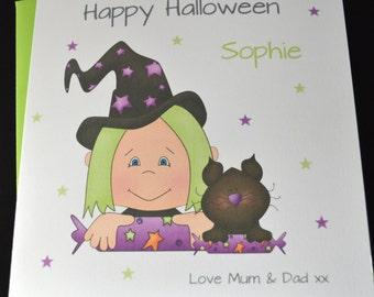 Handmade Personalised Customise Halloween Card Daughter Granddaughter Sister Niece Friend