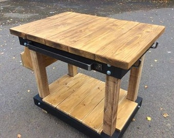 Handmade Bespoke Butchers Block Style Kitchen Island with Solid Steel Rails and Hooks