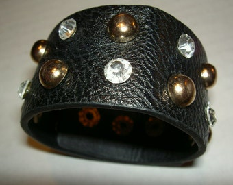 Black Leather Cuff Bracelet with Gold and Rhinestone Studs