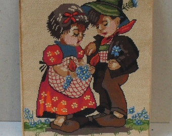 Vintage tapestry, needle work , goblen,embroidered pictures.