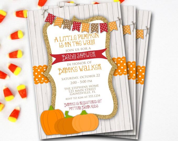 Pumpkin Baby Shower Invitation, Fall Baby Shower Invitation, Rustic Baby Shower, Halloween Baby Shower, Printable Invitation,DIY Printable