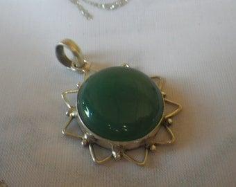 Vintage Sterling Silver Chrysoprase Necklace Pendant