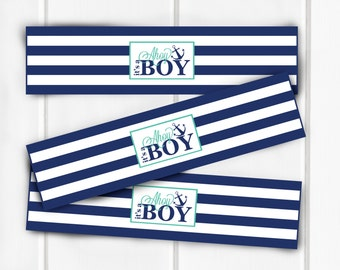 Water Bottle Labels, Nautical Water Bottle Label, Ahoy, It's A Boy!, Nautical Baby Shower, Nautical Decorations, Item 203