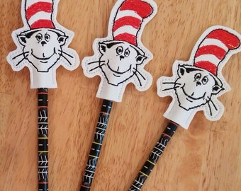 Cat in the Hat Pencil Topper and Pencil-Vinyl - Embroidered