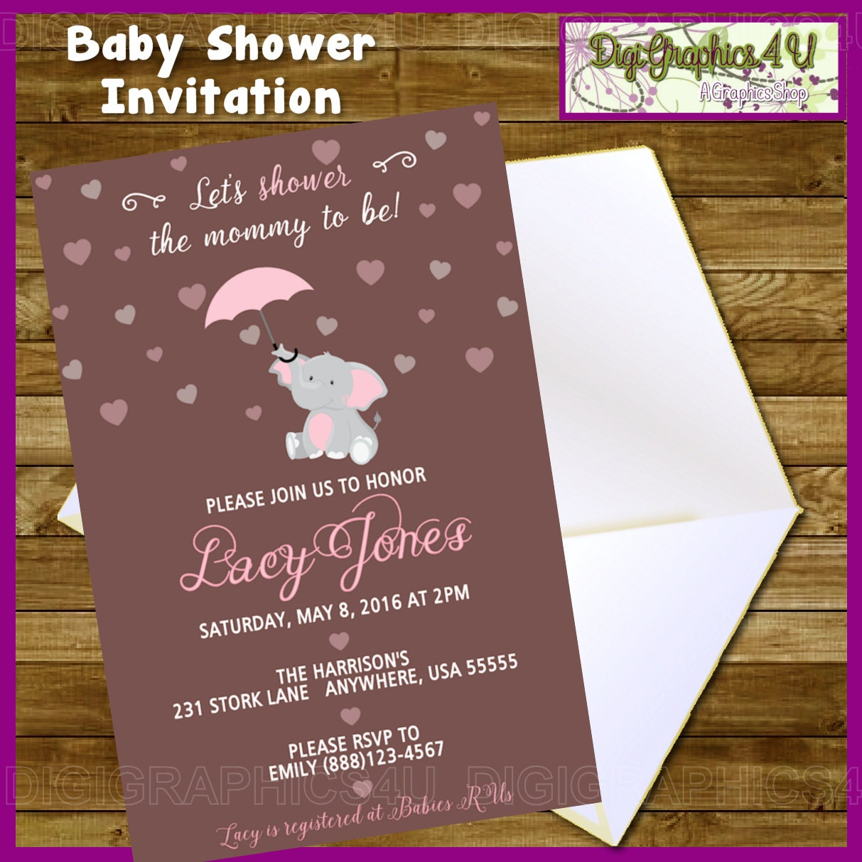 Elephant Themed Baby Shower: Elephant Themed Baby Shower Printable By DigiGraphics4u On