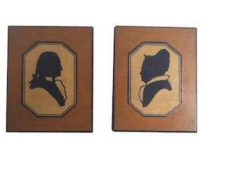 George & Martha Washington Silhouette Wood Plaques (Pair) c. 1920-1940