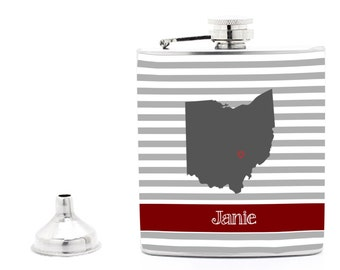 Any State, Ohio State Stripes Hip Flask, 21st Birthday Gift, Bridal Party, Groomsman, Bridesmaid Gift Liquor Flask Funnel