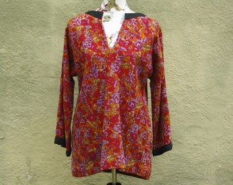 Vintage 70's Short Tunic * Mini Dress * Hand Woven Fabric * Floral * Retro * Medium