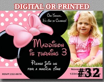 Minnie Mouse Invitation Pink with Photo YOU Print Digital File or PRINTED Minnie Mouse Birthday Party Any Age